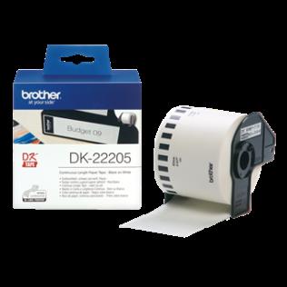 Brother orginal DK22205 taperull i papir i løpende lengde – sort på hvit, 62 mm bred